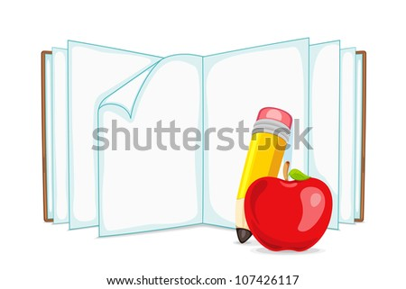 vector illustration of blank open book with apple and pencil - stock vector
