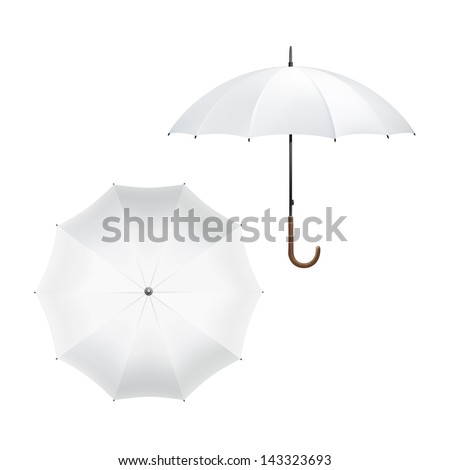 Vector Illustration of Blank White Umbrella - stock vector
