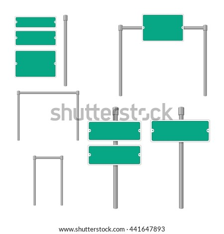 Vector illustration of blanks road sign icon. Street signs icon set. Road sign icons. - stock vector