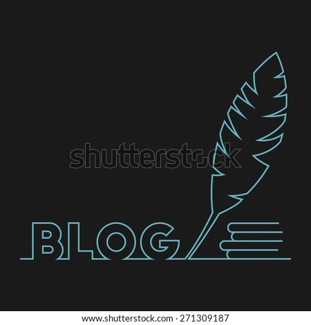 Vector illustration of blog word, pen and books for your design - stock vector
