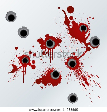 Vector illustration of bloody gunshots with blood splatters on the wall. - stock vector