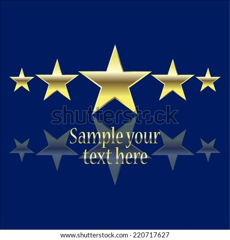Vector illustration of Blue background. 5 golden stars. - stock vector