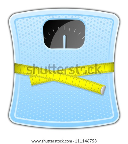 Vector illustration of blue bathroom scale with measuring tape - stock vector