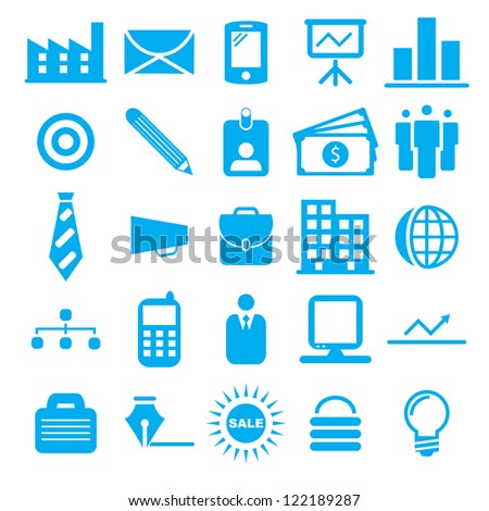 Vector illustration of blue business icons. - stock vector