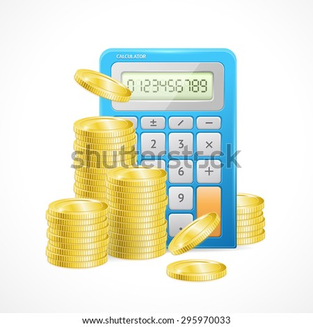 Vector illustration of Blue Calculator and stacks of golden coins. The concept of effective management of Finance budget - stock vector