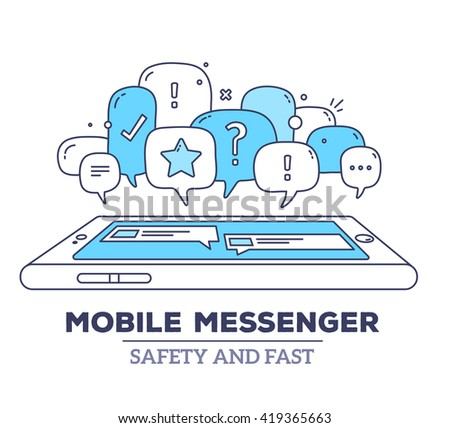Vector illustration of blue color dialog speech bubbles with icons, phone, text mobile messenger on white background. Safety, fast mobile messenger concept. Thin line art flat design of communication - stock vector