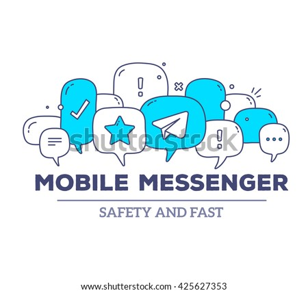 Vector illustration of blue color dialog speech bubbles with icons, text mobile messenger on white background. Safety, fast mobile messenger concept. Thin line art flat design of communication theme - stock vector