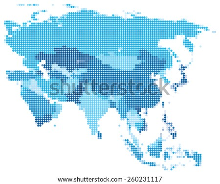 Vector illustration of blue dotted map of Asia. - stock vector