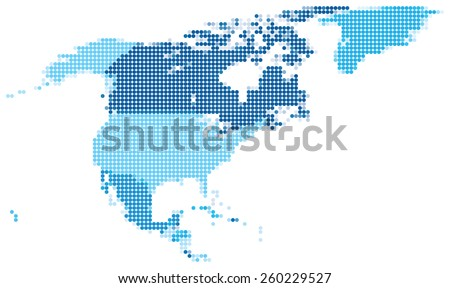 Vector illustration of blue dotted map of North America. - stock vector