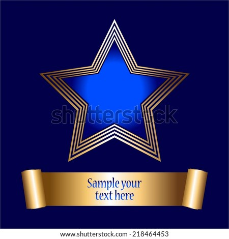 Vector illustration of Blue gold star on a blue background. Award - stock vector