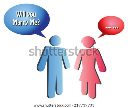 Vector illustration of blue icon man proposing to a red icon woman who hesitated to answer. - stock vector
