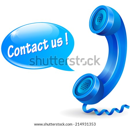 Vector illustration of blue phone with speech bubble for contact icon - stock vector