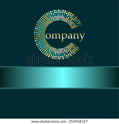 Vector illustration of Blue ribbon. Gold on a blue. Company. - stock vector