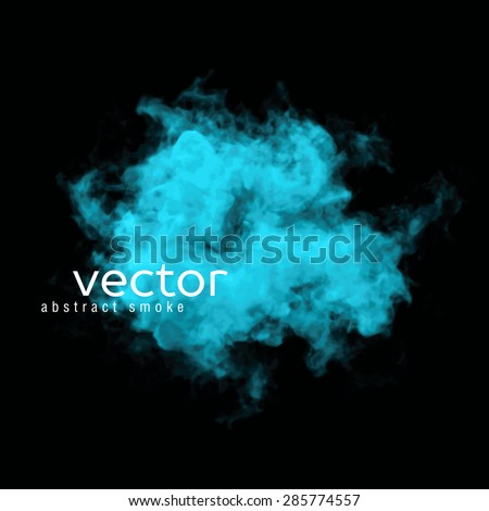 Vector illustration of blue smoke on black. Use it as an element of background in your design. - stock vector