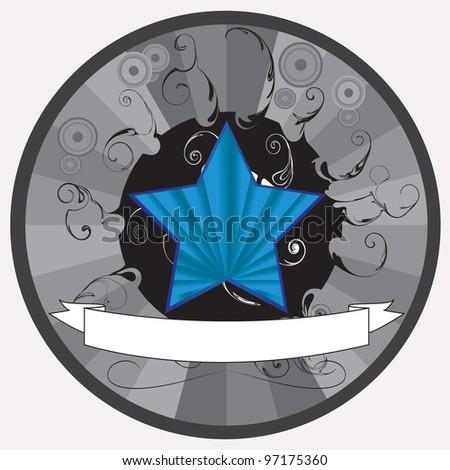 vector illustration of blue star - stock vector