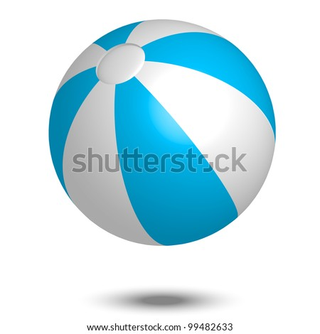 Vector illustration of blue & white beach ball - stock vector