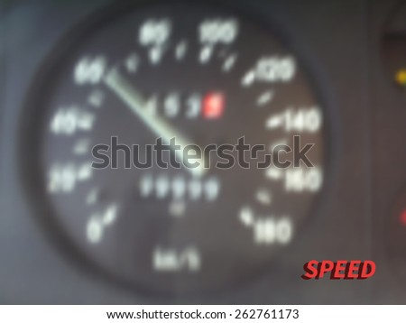 Vector illustration of blurred panel with speedometer of  car, black color.  - stock vector