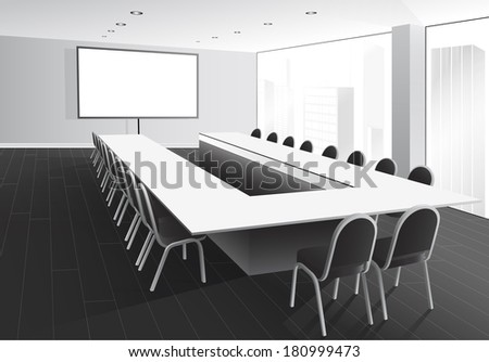 Vector illustration of boardroom with table and chairs, white screen and window with city view - stock vector