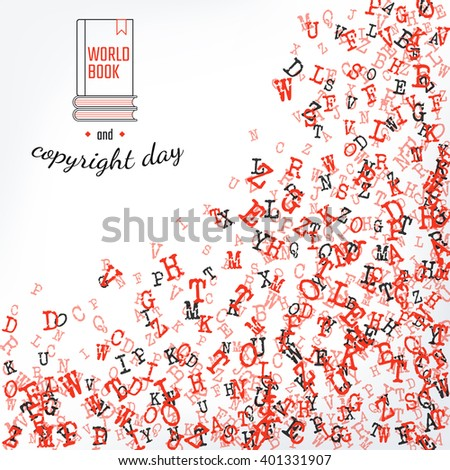 Vector Illustration of Book and copyright day Background for Design, Website, Banner. Letters ABC  Element Template in black. Alphabet  Scattered Symbol Pattern. 23th april - stock vector