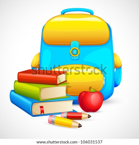 vector illustration of book bag and apple in education background - stock vector