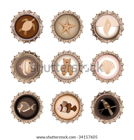 Vector illustration of bottle caps set, decorated with different objects in retro style. - stock vector