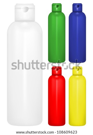 Vector illustration of  bottle of shampoo of different colors - stock vector