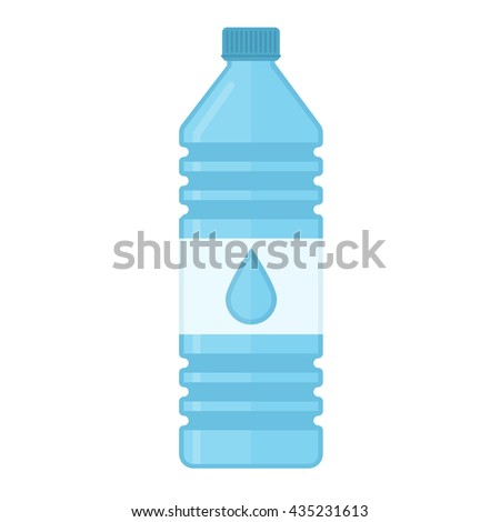 Vector illustration of bottle of water in flat style. Blue bottle of water isolated on white background. Drinking water in plastic bottles. - stock vector