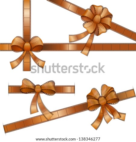 vector illustration of bow with film strip ribbon - stock vector