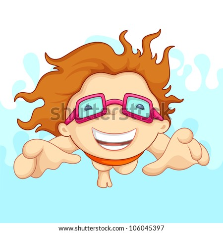 vector illustration of boy doing swimming with safety goggles - stock vector