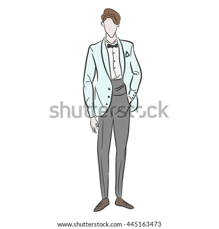 Vector illustration of boy dressed in grey suit for his wedding day. Fashion sketch. Man in cute suit. Stylish husband. Couture show. Posing model. Flat style. Just married. Vector design - stock vector