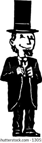 Vector illustration of boy in Abraham Lincoln costume - stock vector