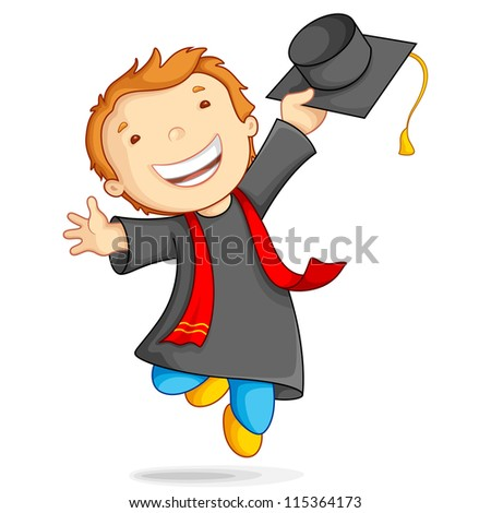 vector illustration of boy in graduation gown and mortar board - stock vector