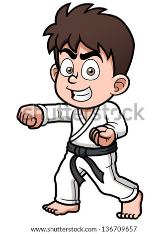 Vector illustration of Boy Karate Player - stock vector