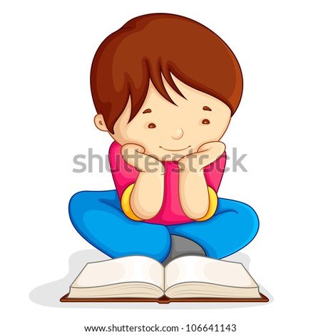 vector illustration of boy reading open book sitting on floor - stock vector