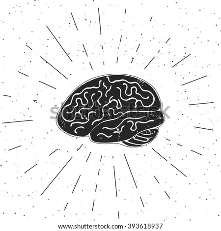 Vector illustration of brain with rays. These are iconic representations of creativity, ideas, inspiration, intelligence, thoughts, strategy, memory, innovation, education and learning.  - stock vector