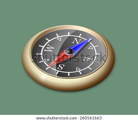 Vector Illustration of brass compass - stock vector