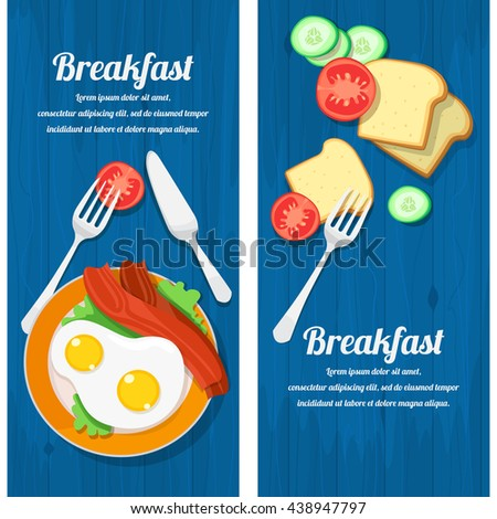 vector illustration of breakfast table with scrambled eggs, bacon, toast and fresh vegetables - stock vector