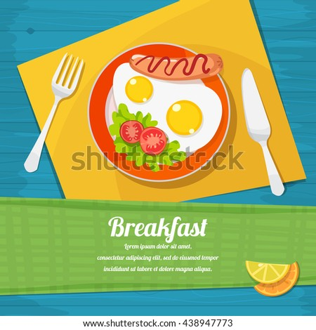 vector illustration of breakfast table with scrambled eggs, toast and fresh vegetables - stock vector