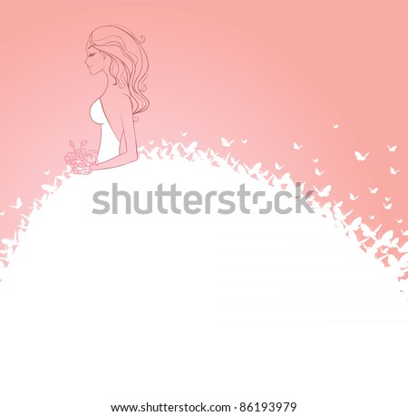 Vector illustration of Bride in white dress - stock vector