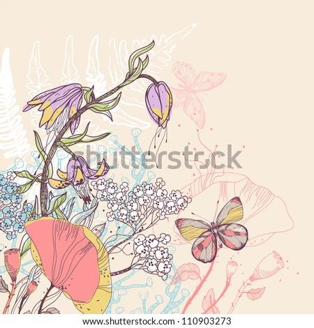 vector illustration of bright summer flowers - stock vector