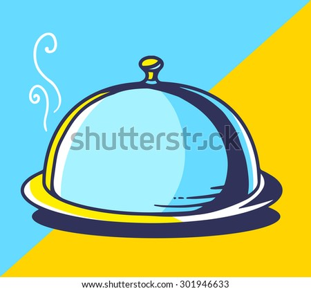 Vector illustration of bright tray with lid on blue and yellow background. Hand drawn line art design for web, site, advertising, banner, poster, board and print.   - stock vector