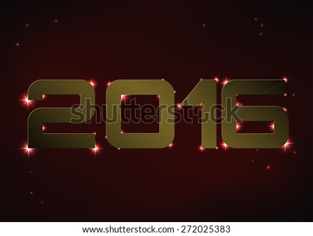 Vector illustration of bronze metallic number 2016 over red night sky - stock vector