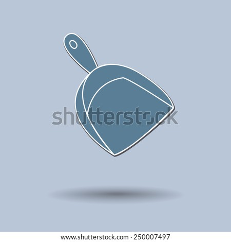 Vector illustration of  broom & dustpan color background. - stock vector