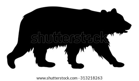 Vector illustration of brown bear silhouette - stock vector