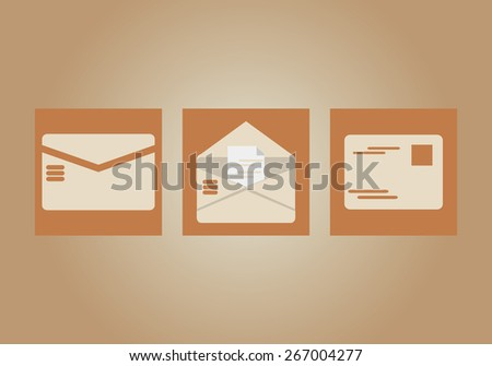 Vector illustration of brown faded color, retro vintage, old style postal airmail, open front back side envelope isolated on brown wallpaper background. E-mail communication concept. No transparencies - stock vector