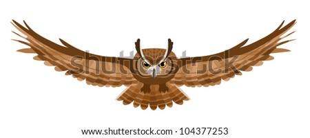 Great Horned Owl Flying Tattoo flying owl - stock vector