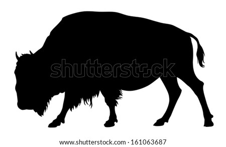Vector illustration of buffalo silhouette - stock vector