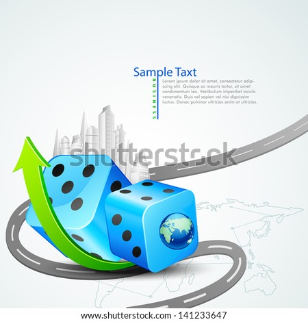 vector illustration of building around dice with arrow - stock vector