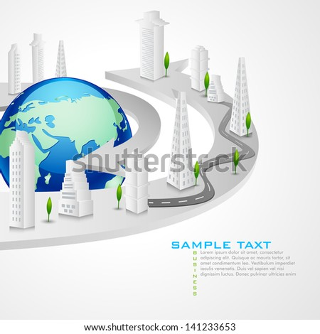 vector illustration of buildings around Earth - stock vector