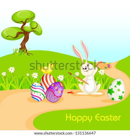 vector illustration of bunny painting Happy Easter eggs - stock vector